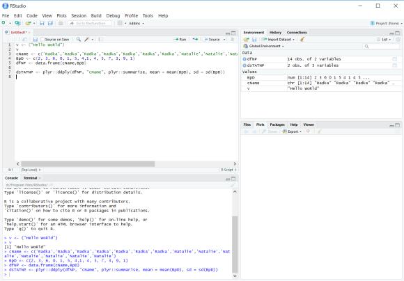 Screenshot of RStudio