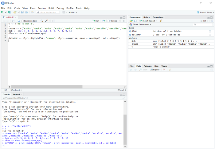 Screenshot of RStudio