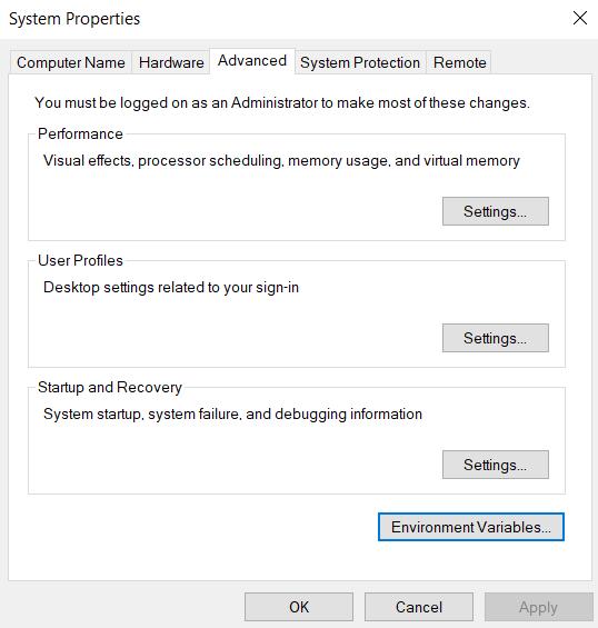 Accessing Windows 10 Environment Variables